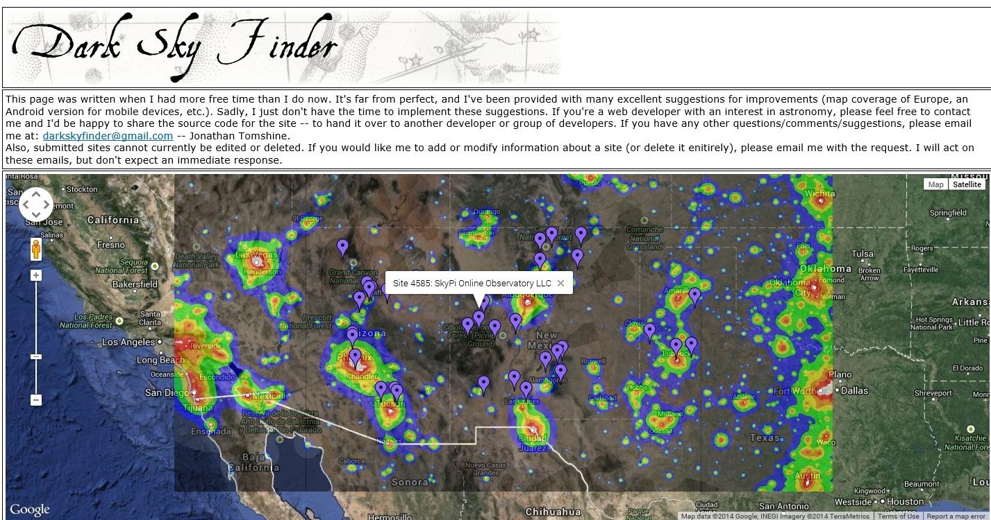 SkyPi Online Observatory LLC SkyPi Observatory Has Been Added - Bortle dark sky scale map