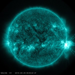 NASA's Solar Dynamics Observatory sees an X-class flare exploding off the right side of the sun. This image shows light in the 131-angstrom wavelength, which is particularly good for seeing material at the high temperatures present in solar flares and which is typically colorized in teal. Image Credit: NASA/SDO