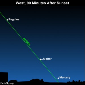 Although Mercury shines more brightly than Regulus does, you might see Regulus first because it's not as obscured by the glow of evening twilight. What is the ecliptic?
