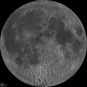 Composite image of the lunar nearside taken by the Lunar Reconnaissance Orbiter in June 2009. Note the presence of dark areas – called maria by astronomers – on this side of the moon. Image via NASA